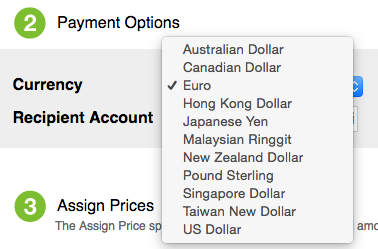 Multiple currency options